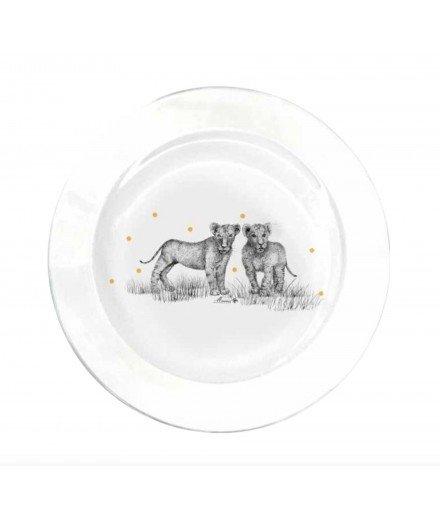 Assiette en verre 23,5 cm - Lionceaux et pois jaunes