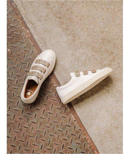 Sneakers La Scotchée - Blanc cassé et paillettes