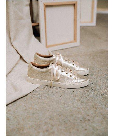 Sneakers La Satinée - Or sablé