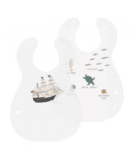 Set de 2 bavoirs - Bâteau et animaux marins