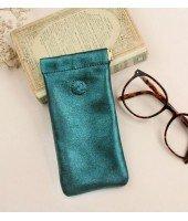 Etui à lunettes en cuir - Vert Teal