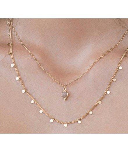 Collier double chaine Anis - Quartz rose