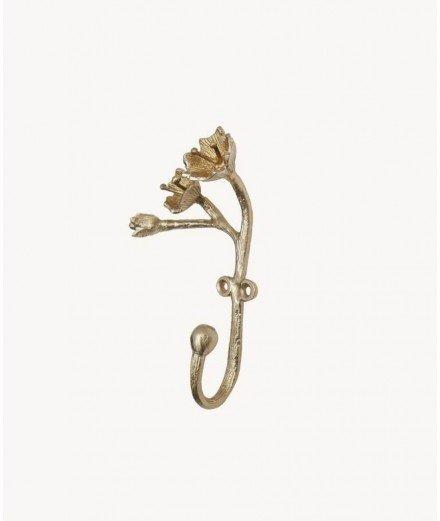Patère en laiton doré Ava - Branche et fleurs