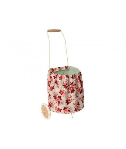 Panier à roulette motif floral