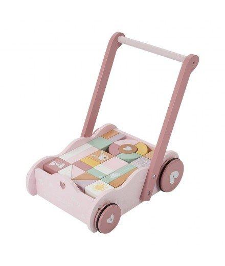 Chariot à blocs en bois - Adventure rose