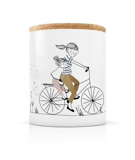 Bougie en Céramique - Balade à vélo Mère Fille