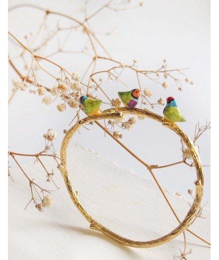 Jonc oiseaux en porcelaine - Diamand de Gould
