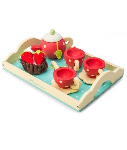 Service à thé en bois - Rouge et à pois