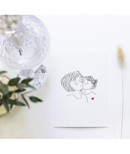 Carte postale Sur ta joue - Fille