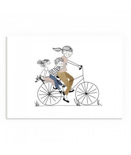 Affiche Balade à vélo Fille et Garçon - Format A4