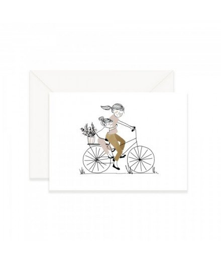 Carte postale Balade à vélo - Fille