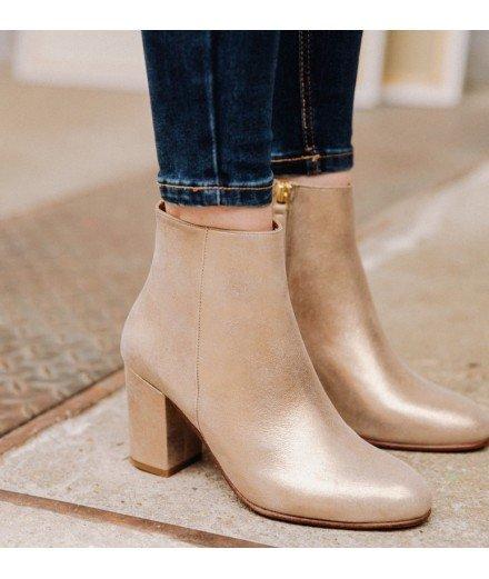 Boots la Divine - Or Nacré, cuir Lamé