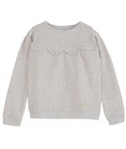 Sweat festonné coton gris pailleté - Emile et Ida