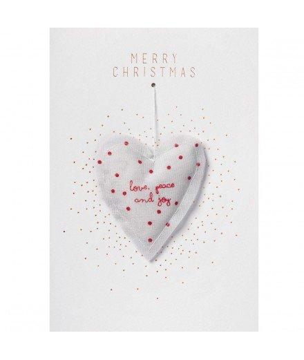Carte de Noël avec boule - Coeur Merry Christmas