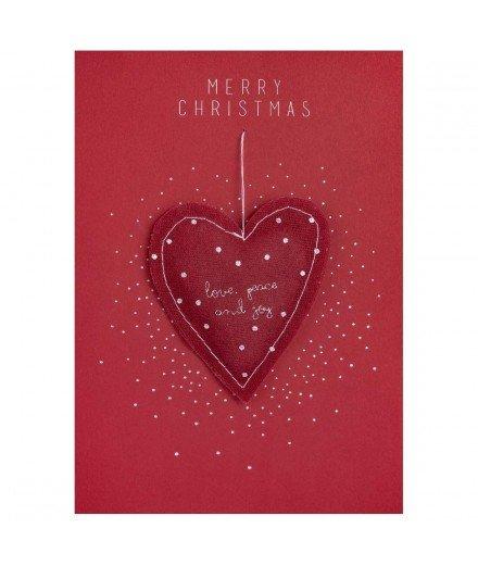 Carte de Noël avec boule Coeur Merry Christmas - rouge