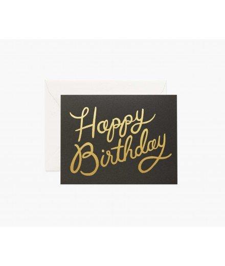 Carte d'anniversaire Happy Birthday et son enveloppe - Noir et or