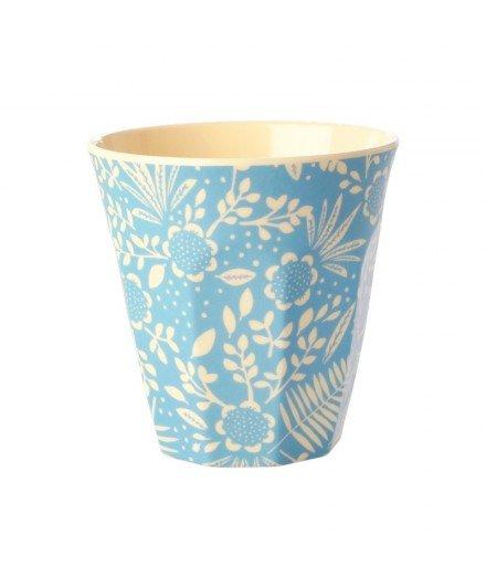 Gobelet en mélamine médium - Fleurs et fond bleu clair (mymy)