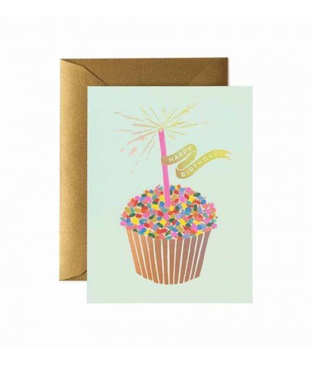 Carte double Happy Birthday - Gateaux Cupcake