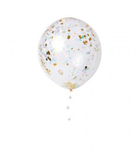 Set de 8 ballons - confettis fluo et Or