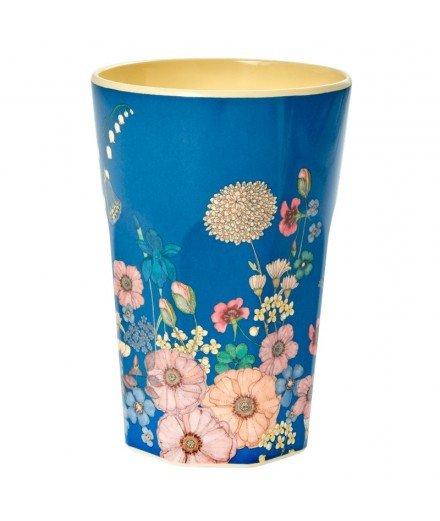 Grand gobelet en mélamine - Fleurs et bleu (mymy)