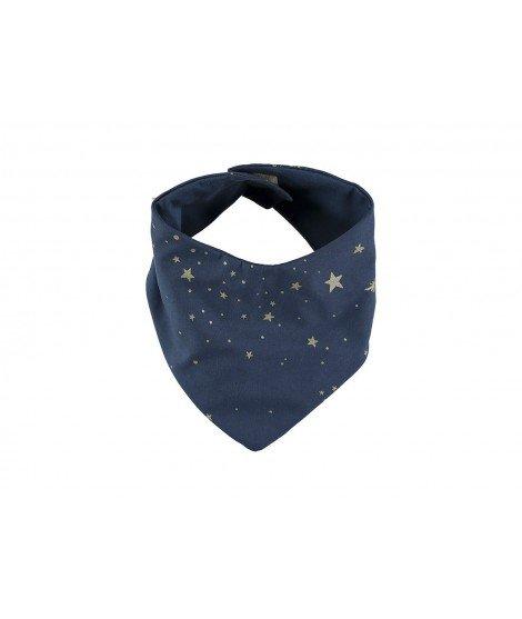 Bavoir bandana en coton biologique - Gold stella night blue (à faire)