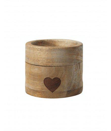 Coquetier en bois et sa cuillère - coeur