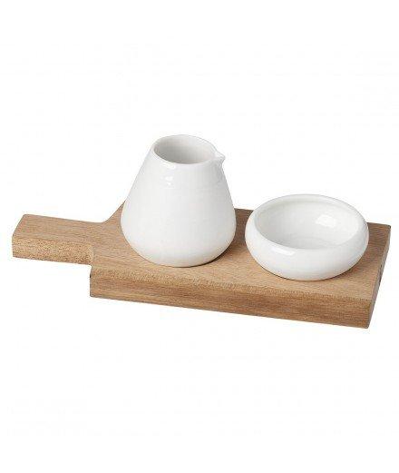 Pots à condiment et sa planche en bois