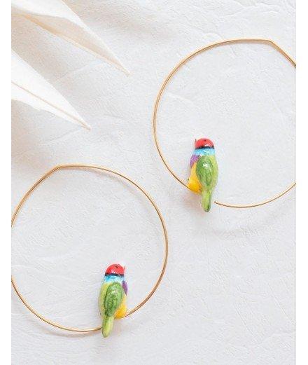 Créoles Oiseau en porcelaine - Diamant de Gould