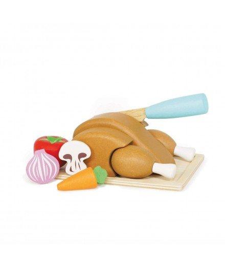 Poulet et ses légumes en bois