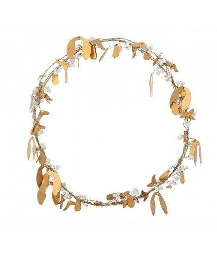 Couronne en laiton doré et perles blanches