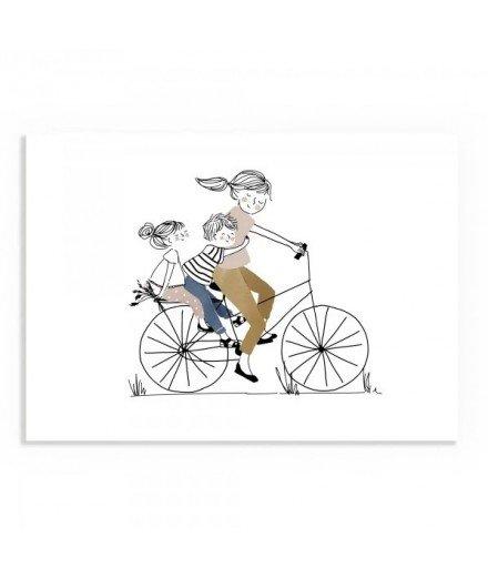 Affiche Balade à vélo Fille et Garçon - Format A5 (mymy)