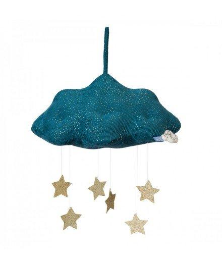 Mobile nuage bleu et étoiles dorées - Picca et Loulou (malo)