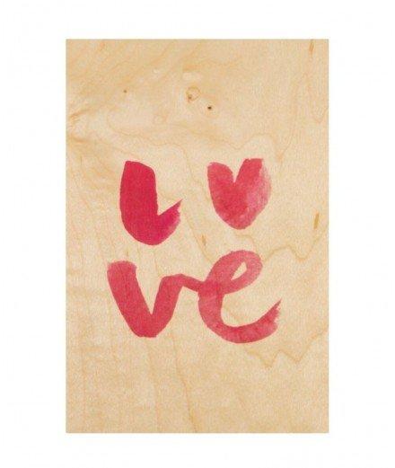 Carte postale en bois - Love (LM)