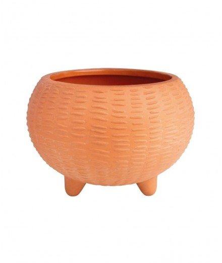 Cache-pot sur pied en terre cuite à relief - Rader (à faire)