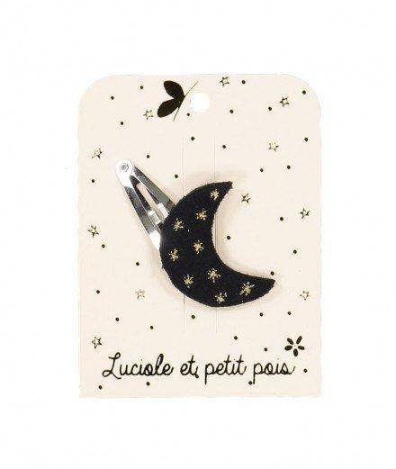 Barrette Lune - Velours noir (malo)