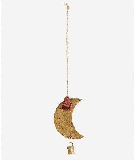 Suspension petite lune en laiton et pompon