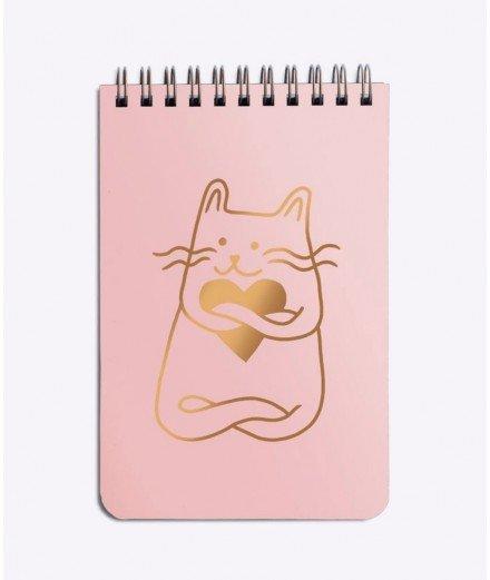 """Bloc-notes à spirales """"Cat in love"""" - Rose"""