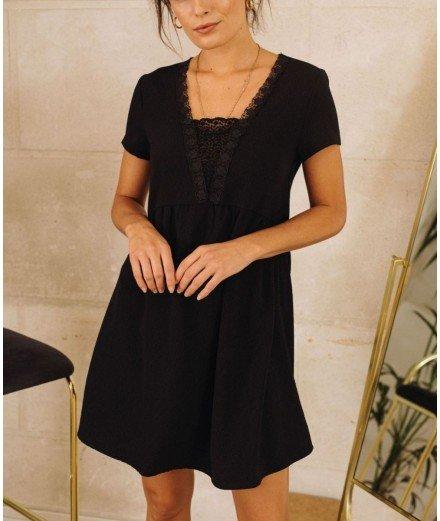 Robe noire avec dentelle - Godelieve
