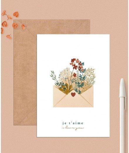 Carte postale - Enveloppe Je t'aime