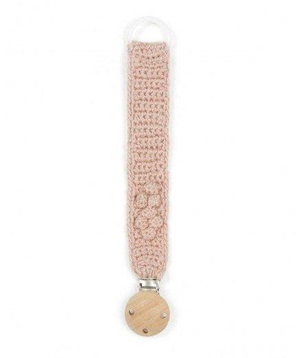 Attache-tétine en crochet - rose (LM stock vannes)
