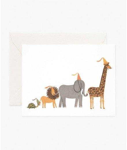 Carte d'anniversaire - Parade d'animaux