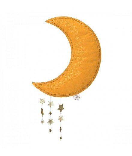 Lune avec étoiles à suspendre - moutarde (LMvannes)