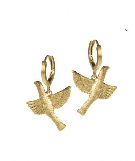Boucles d'oreilles plaqué or - Colombe