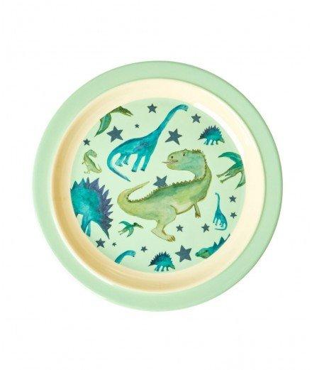 Assiette en mélamine à rebord - Dinosaure (LM vannes)