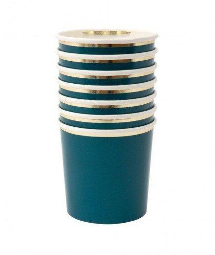 Set de 8 gobelets en carton - Bleu pétrole (malo)