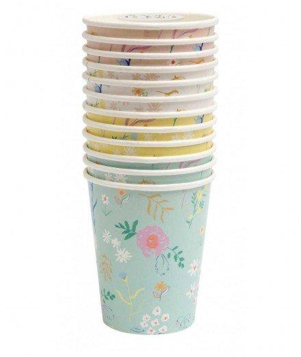 Set de 12 gobelets en carton - Motif fleurs (malo)