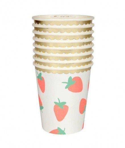 Set de 8 gobelets en carton - Motif fraise (malo)