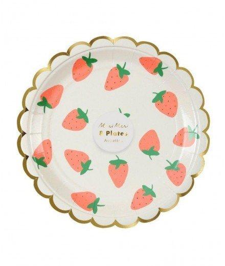 8 petites assiettes - fraise (malo)
