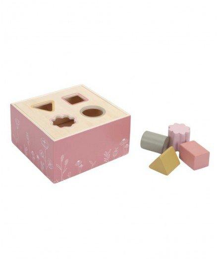 Boîte à formes en bois - Fleurs