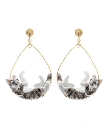 Boucles d'oreilles Chats en porcelaine